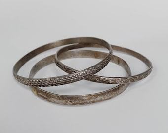 Vintage silver bangle bracelets