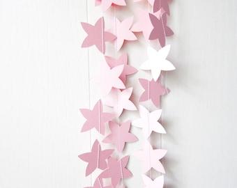 Pink Flower Garland - Nursery Decor - Wedding Garland - Spring decor - Baby Bunting - Baby Shower Decorations - Photo Prop