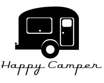 Happy Camper Trailer Vinyl Decal Sticker