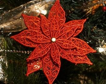 Lace Poinsettia Christmas Ornament