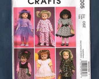 """McCall's M6005 Doll Wardrobe 18"""" Dolls Sewing Pattern, Dresses, Coats and Hats, Leggings, American Girl, Doll Clothes, Uncut Pattern"""