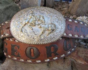 """70s Hand Tooled Western Leather Belt Name """"George"""" w/ Crumrine Calf Roping Buckle, max W40 / 94-102 cm // Buckle Also Available Separately"""