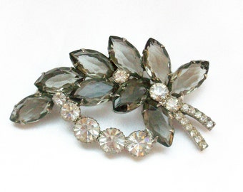 Vintage Juliana D & E  Smoky and Clear Rhinestone Silvertone Brooch or Pin - Free Shipping USA