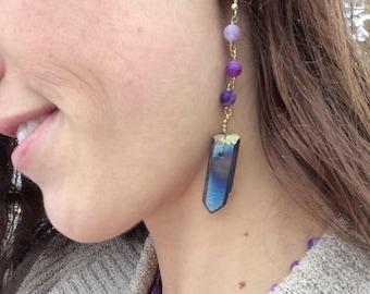 Titanium quartz and amethyst habd chained earrings