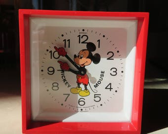 Vintage Walt Disney Mickey Mouse Alarm Clock Mickey Hands Hour & Minute Markers Bradley West Germany Shows Some Wear