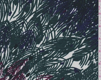 Forest/Berry/Blue Feather Print Rayon Jersey Knit, Fabric By The Yard