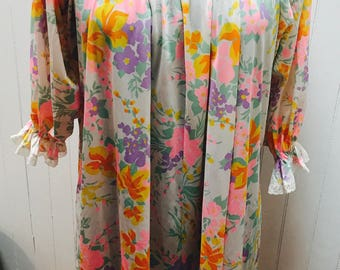 Vintage 1960s/1970s Pink, Purple & Yellow Floral Nightgown/Dress with Lace Detail