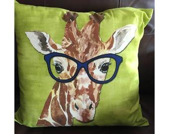 Lime Glasses Wearing Giraffe Pillow