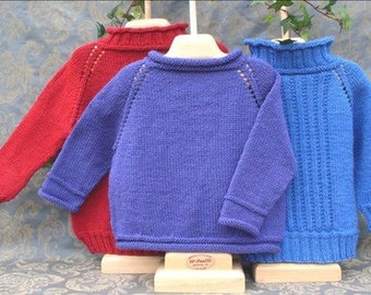 1-2-3 Top Down Knitting Pattern, pdf, children, worsted weight yarn