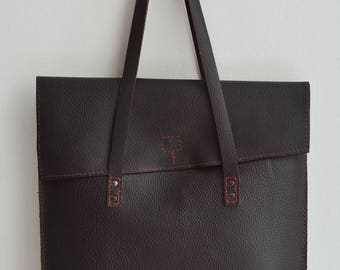 Dark Brown Pebble Grain Leather Tote Bag
