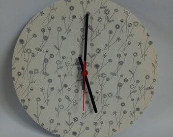 Clock, Handmade, 30 Cm Fabric covered wall clock