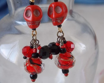 Skull Earrings Red and Black Beaded Howlite Skull Earrings E59