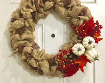 "Burlap Thanksgiving Autumn Fall Wreath | 22"" Pumpkins Leaves Acorns"