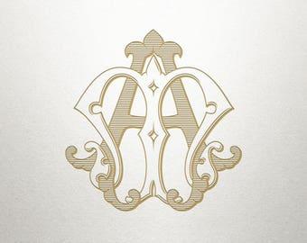 Custom Bridal Monogram - AM MA - Bridal Monogram - Vintage
