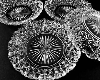 Small Brilliant Cut Glass Dish Crystal Candy Dish Catch All Trinket or Nut Bowl