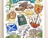 Scotland Print, National Symbols, illustration, Edinburgh, bagpipes, kilts, thistle, Ben Nevis, flag, whiskey.