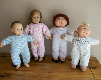 3) Knit Jumpsuit Hand Made ANY 15 or 18 Inch Dolls Doll Clothes Dolls Toys American Girl Cabbage Patch Bitty Preemie Gotz and Girlz Doll etc