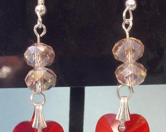 Gorgeous SPARKLING Crystal and Red Heart Earrings - E024