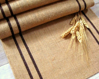 Charmant Burlap Table Runner With Brown Stripes /Grainsack Table Runner / Brown  Runner / Rustic Table Runner /Lakehouse Decor