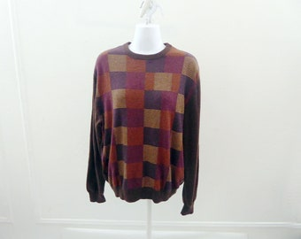 100% Cashmere Sweater Size M Brown Box Striped Boyfriend Crew Neck Northern Isle