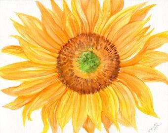 Original Sunflower watercolor painting, Sunflower painting, sunflower decor, one of a kind original OOAK, sunflower art 8 x 10