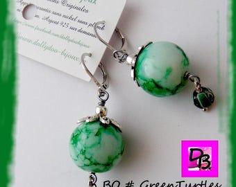 Earrings # # # # green # gift # white metal stone resin