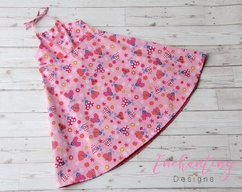 SALE - Girl's Halter Dress for 3-4 Years, Pink Girl's Dress, Girl's Ladybug Dress, Girl's Summer Dress, Toddler Halter Dress, Girl's Dress