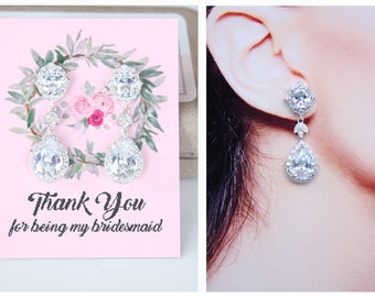 Bridesmaid Earrings Art Deco Cubic Zirconia Leaf Pear Drop Bridesmaid Jewelry Bridesmaid Gifts