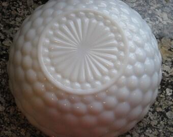 Vintage Bubble Glass Milk Glass Serving Bowl