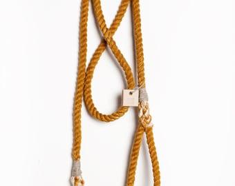 Rust cotton rope leash, dip dye dog lead, metal hardware