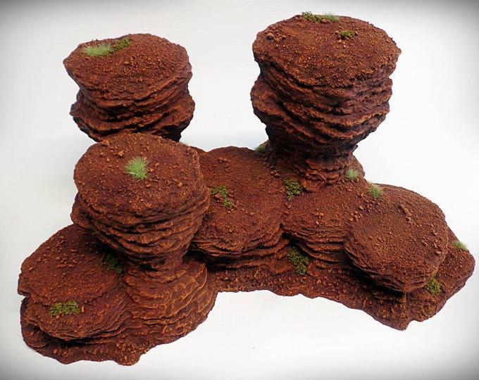 Wargame Terrain - Triple Spire A – UNPAINTED kit - Miniature Wargaming & RPG rock formation terrain