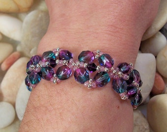 Diamond Link Bracelet Pattern, Beading Tutorial in PDF