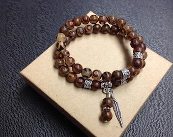 Tibetan Agate Gemstone Charm Bracelet, Brown Bracelet, Gemstone Silver Charm Bracelet, Yoga Bracelet, Meditation Bracelet, Chakra Bracelet