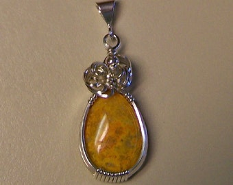 Sterling Silver Spotted Yellow Sunshine Quartz Wire Wrap Pendant