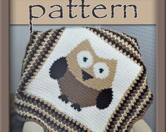PATTERN Owl Afghan Blanket - Crochet - Instant Download