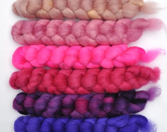 Hand dyed roving -  Blue Faced Leicester (BFL) wool spinning fiber - 6.2 ounces - Glorious Song