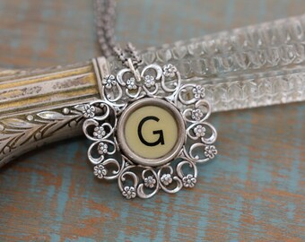 "Typewriter Key Necklace -Vintage White Letter ""G""-Typewriter Key Letter G-White Letter G Pendant-Antique Typewriter Key Necklace"
