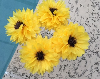 SUNFLOWERS- 4 count tissue paper flowers pom poms /Baby Shower, Birthday, Wedding Decorations, Bridal Shower, Centerpiece
