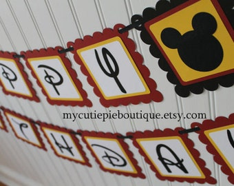 Red and Yellow Mickey Mouse Birthday Party Banner