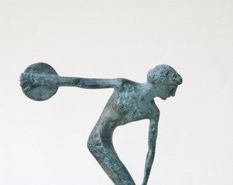 Discus Thrower, Bronze Greek Athlete Statue, Ancient Greece Olympic Games, Disc Thrower, Metal Art Sculpture, Art Decor, Museum Quality Art