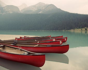 Lake Louise Photo, Lake Louise Canvas, Lake Louise Print, Red Canoes, Banff Canoes Photo, Banff Canvas, Banff Art, Lake Louise Canoes Photo