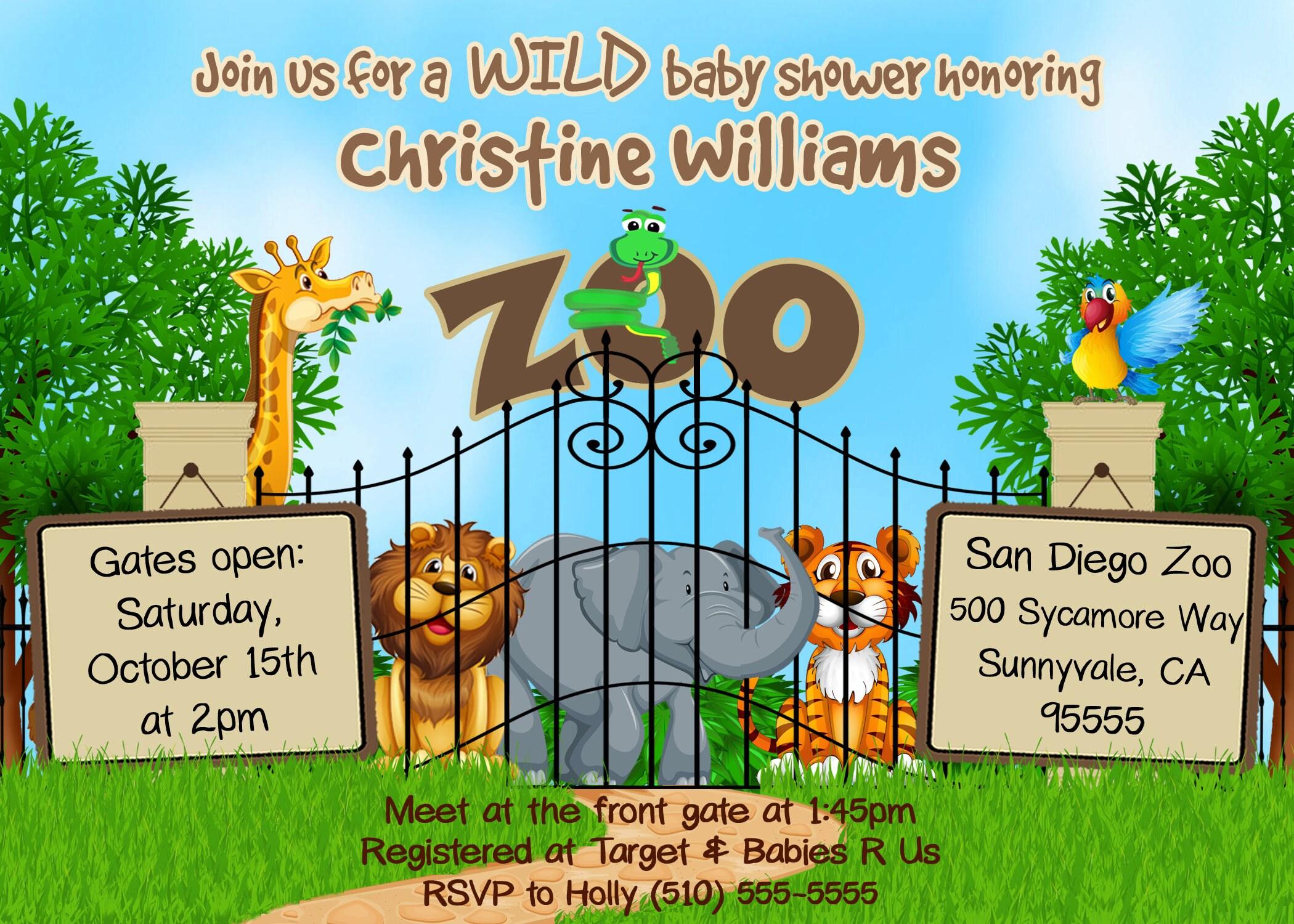 DIGITAL zoo baby shower invite zoo invitation zoo baby