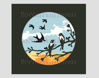 Birds Cross Stitch, Swallows Cross Stitch,  Birds Pattern, Needlepoint, Cross Stitch, Silhouette, Black Bird from NewYorkNeedleworks on Etsy