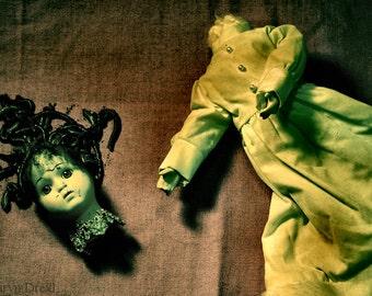 Channeling Medusa -FREE SHIPPING - Print Mythology Doll Head Worms Pink Green Yellow Black Still Life Surreal Beheaded Creepy Weird Print