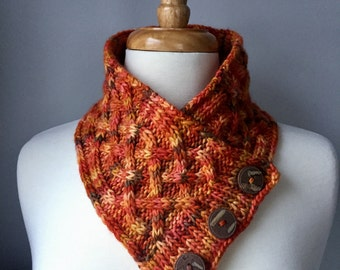 Knit Cabled Neck Warmer - Handmade Cowl - Brown & Orange Fall