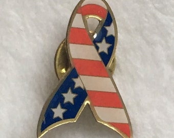 USA Flag Ribbon Lapel Pin, Hat Pin, Patriotic Pin