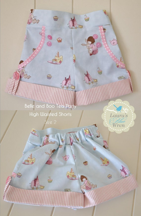 Items Similar To Belle And Boo Tea Party High Waisted Shorts On Etsy