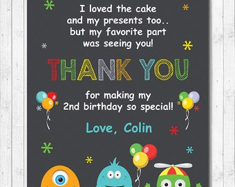 Monsters Thank you Card, Monsters thank you note, Monster thank you tags, Monster birthday, Monsters party, printable