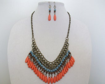 Colorful, primitive look necklace and earring set