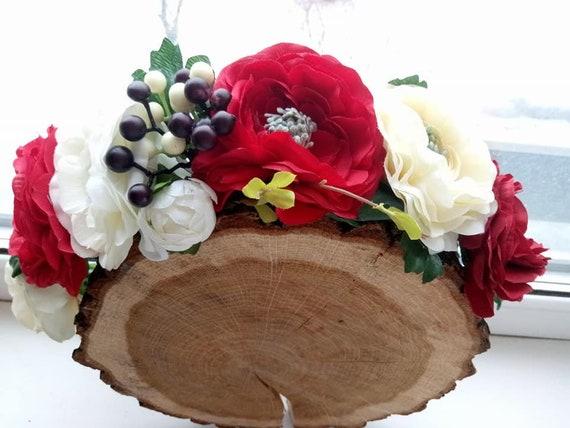 Burgundy white flower crown blush flower crown burgundy mightylinksfo Choice Image